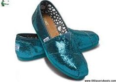 Teal glitter toms