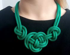 White rope necklace/ Knot Necklace/ Bib necklace/ by Injogre