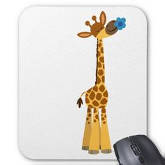 Cartoon Giraffe | Cute Cartoon Giraffe and Flower Mousepad from Zazzle.com
