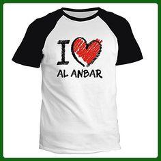 Idakoos - I love Al Anbar chalk style - Cities - Raglan T-Shirt - Cities countries flags shirts (*Amazon Partner-Link)