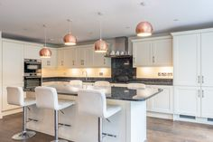 Lovely kitchen island within a Cream painted shaker kitchen topped with Blue Pearl Granite Real Kitchen, Kitchen Tops, Kitchen Island, Cream Shaker Kitchen, Blue Pearl Granite, Cream Paint, Real Wood, Kitchens, Furniture