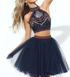International Prom Dresses, Two Piece Homecoming Dress,Embroidery Homecoming Dress