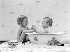 Baby Boy Sittings in Wash Tub, Washing Feet of Girl Sitting Outside of Tub by H. Armstrong Roberts (Framed) by The Art Studio at Gilt Bath Pictures, Baby Boy Pictures, Mini Bathtub, Baby Posters, Wash Tubs, Third Baby, Twin Girls, Mom And Baby, Baby Boys