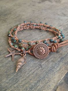 "Ocean Life Crochet & Leather Multi Wrap Bracelet ""Beach Chic"" $40.00"