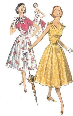 "Rare Vintage 1950's Rockabilly Fitted Flared Dress & Bolero Bow Jacket B 30"""