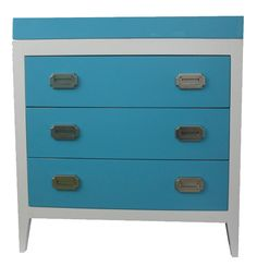 How fun is this colorful changing table in Bahama Blue from @Newport Cottages?!