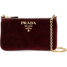 Prada Logo chain pochette ($550) ❤ liked on Polyvore featuring bags, handbags, clutches, red, chain handle handbags, prada, red purse, burgundy handbags and prada clutches