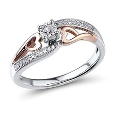 Diamond Promise Ring 1\/10 ctttw in 10k Rose Gold and Rhodium Plated Sterling Silver