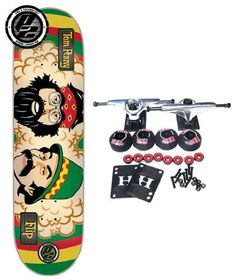 """FLIP p2 Complete Skateboard TOM PENNY CHEECH & CHONG P2 8 x 31.5 RASTA by Flip. $84.99. Flip P2 Complete Skateboard Features Flip - Penny Cheech and Chong P2 Deck, Size 8"""". Complete components include Core Trucks, 52mm TGM Goth Logo Wheels, Amphetamine Abec 5 Bearings, Black Diamond Griptape, 1"""" Hardware and 1/8"""" risers. P2 technology includes an oval-shaped [aramid] fiber reinforcement panel, which enhances the natural performance and pop of its supporting sev..."""