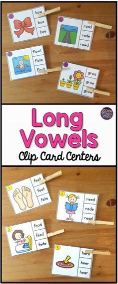If your students need practice distinguishing between long vowel sound spellings, these clip card activities will make a great literacy center, word work center, or early finisher activity. This set includes 16 clip cards for each long vowel spelling patt Vowel Activities, Literacy Activities, Literacy Centers, Alphabet Activities, Language Activities, Word Work Games, Word Work Centers, Kindergarten Reading, Teaching Reading