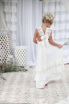 Adorable A-line White Long Boho Flower Girl Dress