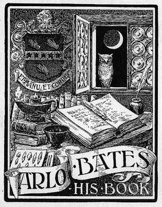 Bookplate of Arlo Bates Description: States, 'Arlo Bates His Book;' features an open book, an oil lamp, a stack of books, a window, an owl, a crescent moon, and a shield. Unsigned.     Format: 1 print, b&w, 9 x 7 cm.     Source: Pratt Institute Libraries, Special Collections 70 (sc00308)