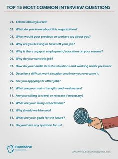 TOP 15 Most Common Interview Questions - Resume Template Ideas of Resume Template - Impressive Resumes Top 15 interview questions Job Interview Answers, Most Common Interview Questions, Job Interview Preparation, Job Interview Tips, Job Interviews, Leadership Interview Questions, Prepare For Interview, Professional Interview Questions, Interview Questions For Employers