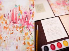 hand-made watercolor save the dates