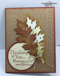 Stampin' Up! Leaflets framelits, Woodland TIEF, Thoughts & Prayers stamp set.  Sympathy card for loss of a pet.http://stampsnlingers.com/2015/09/09/stampin-up-thoughts-prayers-and-leaflets-offer-sympathy-for-the-loss-of-a-pet/comment-page-1/#comment-1197