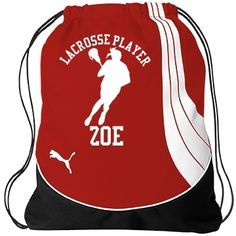 Zoe. Lacrosse player  | An awesome draw string bag made with quality and style in mind. You can customize this bag by changing name, font, colour or pic. You will love it!