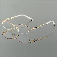 fa804236c5 Metel Alloy Eyeglasses Half Rim Optical Frame Prescription Women Spectacle  Reading Myopia Flower Eye Glasses Purple