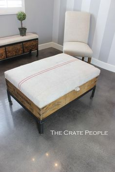 European Nubby Grain Sack with Double Red Lines & FP Monogram - Ottoman, Coffee Table OR Bench