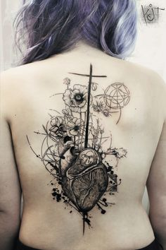Koit - Tattoo artist from Berlin / travelling. Heart and flowers back piece design in black that looks amazing with that purple hair :) Graphic / abstract style ink with some geometric details and lines. LOVE it!