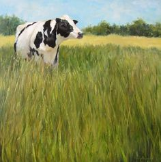 Cow Animal Painting Ms Holstein Standing in Her Field Original Oil on Canvas Painting by Cheri Wollenberg Canvas Wall Art, Wall Art Prints, Oil On Canvas, Holstein Cows, Cow Painting, Watercolor Paintings, Cow Art, Animal Paintings, Animal Drawings
