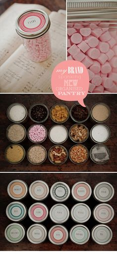 Free printable for mason jar lids. (Organizing a pantry with little mason jars is silly, but I like the printable lid labels for gifts etc. Canning Labels, Pantry Labels, Jar Labels, Food Labels, Canning Jars, Canning Recipes, Mason Jar Lids, Mason Jar Crafts, Diy Jars