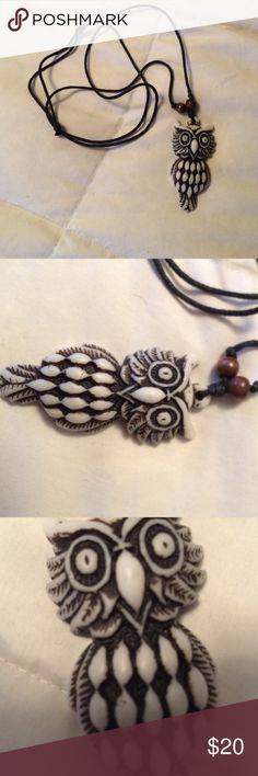 White and Black OWL necklace White and Black OWL adjustable necklace Owl Jewelry Necklaces