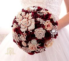 Silk flower burgundy wine rose gold brooch bouquet , gold jeweled crystal alternative unique bouquet by Memory Wedding Gold Bouquet, Burgundy Bouquet, Crystal Bouquet, Wedding Brooch Bouquets, Flower Bouquet Wedding, Flower Bouquets, Purple Bouquets, Bridesmaid Bouquets, Peonies Bouquet
