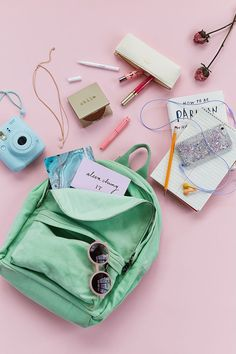 pink background flat lay