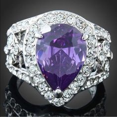 White Gold Filled Amethyst CZ Ring Brand New #R024 Jewelry Rings