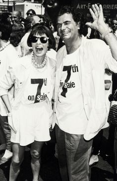 Anna Wintour with Patrick Demarchelier at the 7th On Sale AIDS Fashion Photo Session at 7th Ave in New York City, 1990.