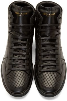 Saint Laurent - Black Leather Perforated SL/10 Sneakers
