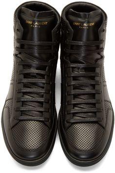 Saint Laurent - Black Leather Perforated SL/10 Sneakers