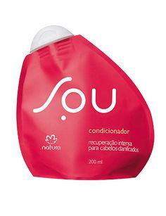 **Condicionador Recuperação Intensa SOU - 200ml**  SOU um jeito novo de consumir. Agora, SOU também para seu cabelo. Um condicionador que oferece recuperação de danos causados por processos químicos. Um condicionador bom para você e bom para o planeta. https://www.facebook.com/revendasonlinegoianiagyngo/?fref=ts