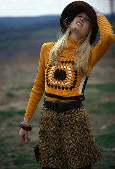 1971 crochet fashion 70s vintage style turtleneck wool herringbone skirt shorts knit sweatervest vest black orange model hat brady bunch looks