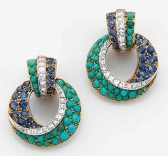 Van Cleef and Arpels Clip-On Earrings in Platinum and 14K Yellow Gold with Turquoise and Sapphires and Diamonds
