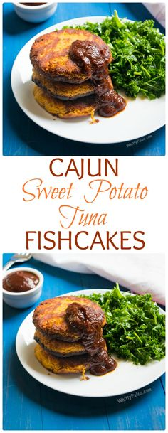 Paleo Cajun Sweet Potato Tuna Fishcakes with a No-Cook BBQ Sauce. It only takes three ingredients to whip up and comes together in under 30 minutes! Just the perfect weeknight dinner. From WhittyPaleo.com