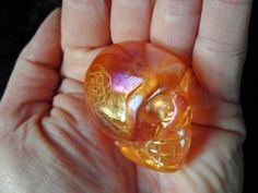 Sunshine Orange Rainbow Aura Quartz Crystal Skull Titanium Gift Xmas Present 56g