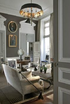 Modern mix with traditional - gray and white details (Jean Louis Deniot)