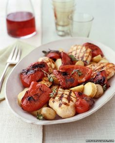 Herbed Chicken with Grilled Red Peppers - Martha Stewart Recipes (I would just leave out the potatoes...or substitute sweet potatoes)