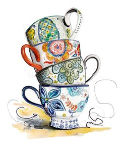 Inkie mama art works tea cup drawing, tea art и tea cup art