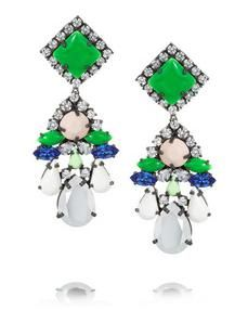 Shourouk square silver-plated Swarovski crystal earrings.
