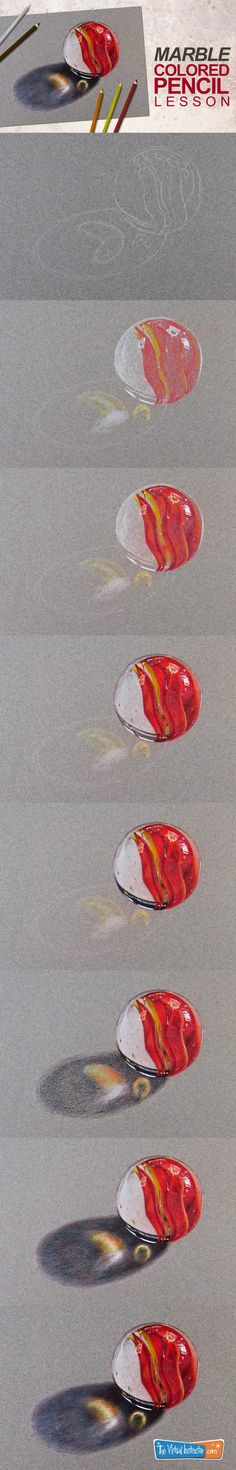 How to draw a realistic marble with colored pencils. #coloredpencils #drawinglessons #drawing #drawingtutorial #marble