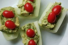 Cucumbers with guacamole filling and tomatoes -- a great 3-flex option!