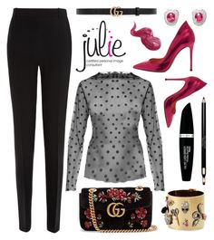 """""""The little black polka •"""" by juliedebbas ❤ liked on Polyvore featuring Gianvito Rossi, Bobbi Brown Cosmetics, La Perla, Gucci, Alexis Bittar, Clarins and Max Factor"""
