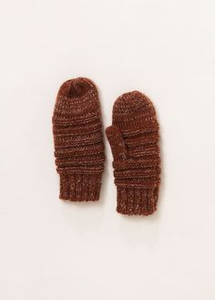lookbym - Striped Knit Mittens Gloves Clay
