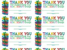 Thank You Cards & Labels Girl Scout Cookie Sales, Brownie Girl Scouts, Girl Scout Cookies, Girl Scout Law, Girl Scout Activities, Printable Thank You Cards, Daisy Girl Scouts, Girl Scout Crafts, Free Girl