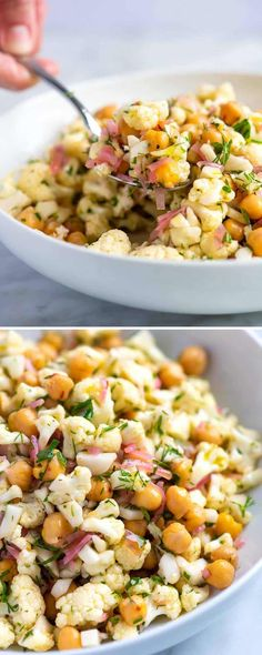 Herby Cauliflower Salad Recipe with Chickpeas! Thanks to a light lemony dressing and lots of fresh herbs, this simple cauliflower salad tastes surprisingly delicious and lasts in the fridge for days. salad Herby Cauliflower Salad with Chickpeas Chickpea Salad Recipes, Veggie Recipes, Vegetarian Recipes, Dinner Recipes, Cooking Recipes, Healthy Recipes, Cooking Bacon, Vegetarian Cooking, Cooking Ideas