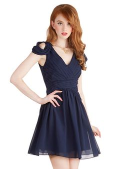 Taking Fancy Dress in Navy - Chiffon, Woven, Short, Blue, Solid, Cutout, Pleats, Wedding, Party, Cocktail, Holiday Party, A-line, Cap Sleeve...