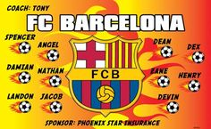 FC Barcelona B54352  digitally printed vinyl soccer sports team banner. Made in the USA and shipped fast by BannersUSA.  You can easily create a similar banner using our Live Designer where you can manipulate ALL of the elements of ANY template.  You can change colors, add/change/remove text and graphics and resize the elements of your design, making it completely your own creation.