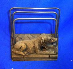 Vintage German Desktop Decoration Letter Holder Wood Carved Hunting Dog #BX